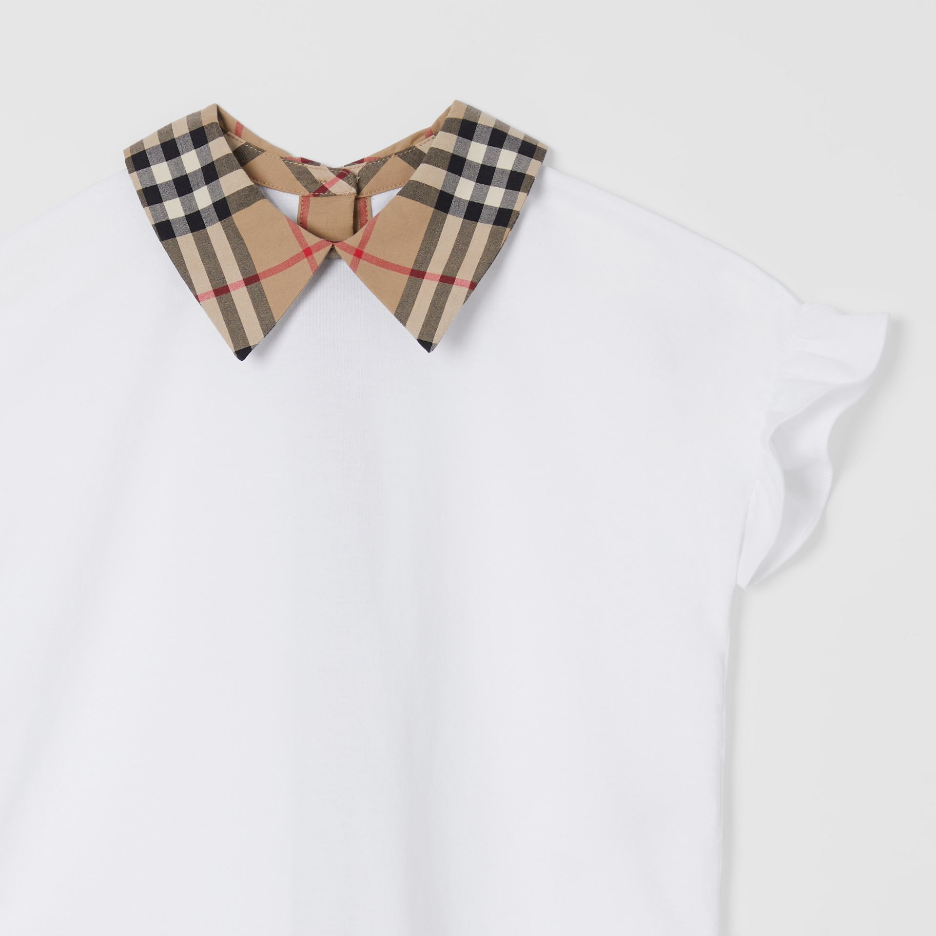 Vintage Check Detail Ruffled Sleeve Cotton T-shirt in White | Burberry - gallery image 4