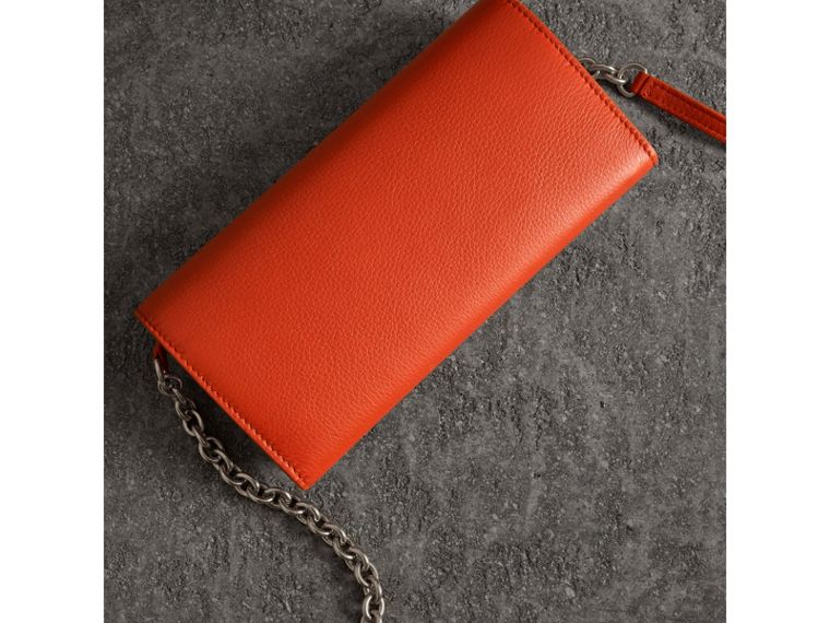 Embossed Leather Wallet with Chain in Dark Clementine - Women | Burberry United Kingdom - cell image 4