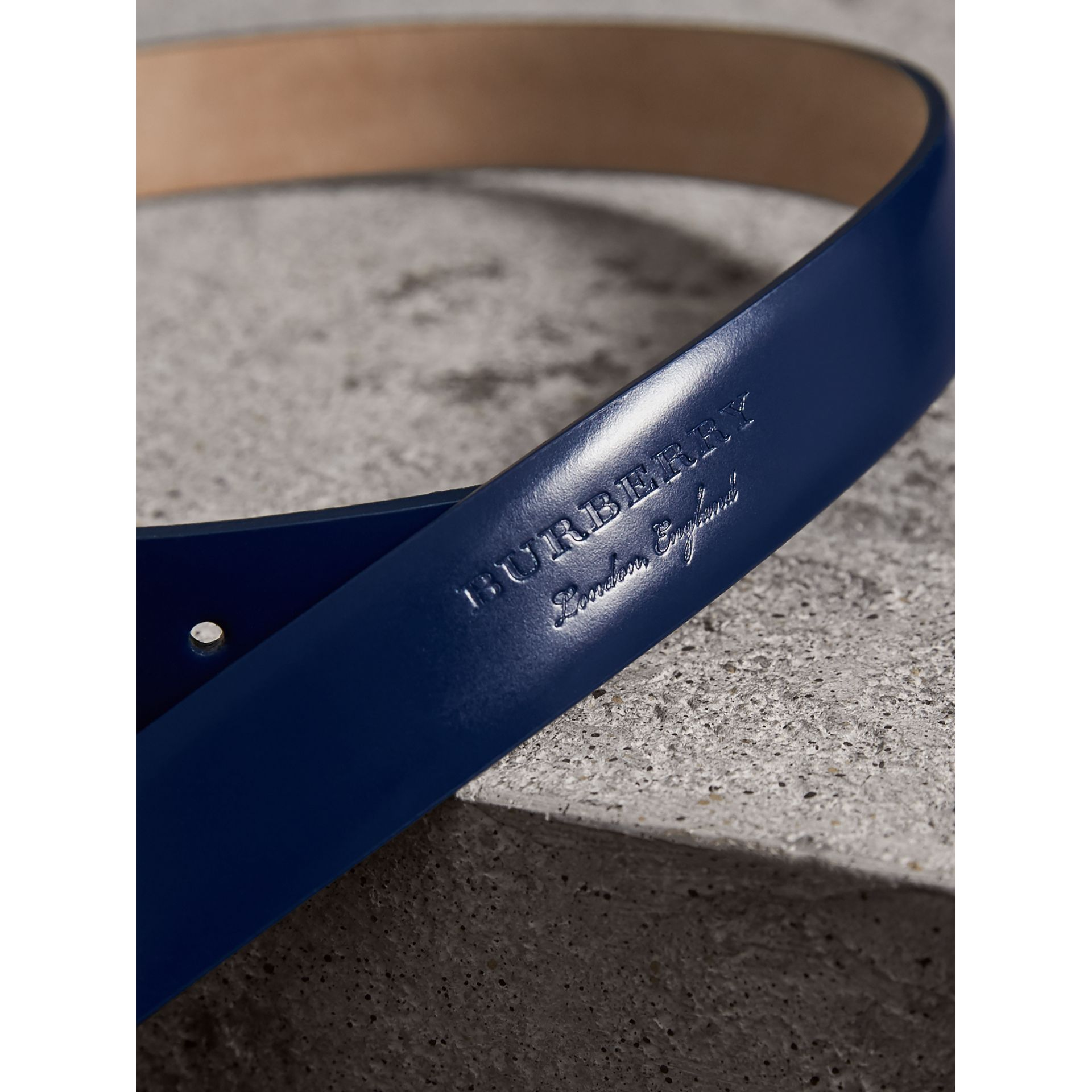 Plaque Buckle Leather Belt in Canvas Blue - Women | Burberry Hong Kong - gallery image 1