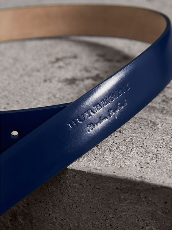 Plaque Buckle Leather Belt in Canvas Blue - Women | Burberry Hong Kong - cell image 1