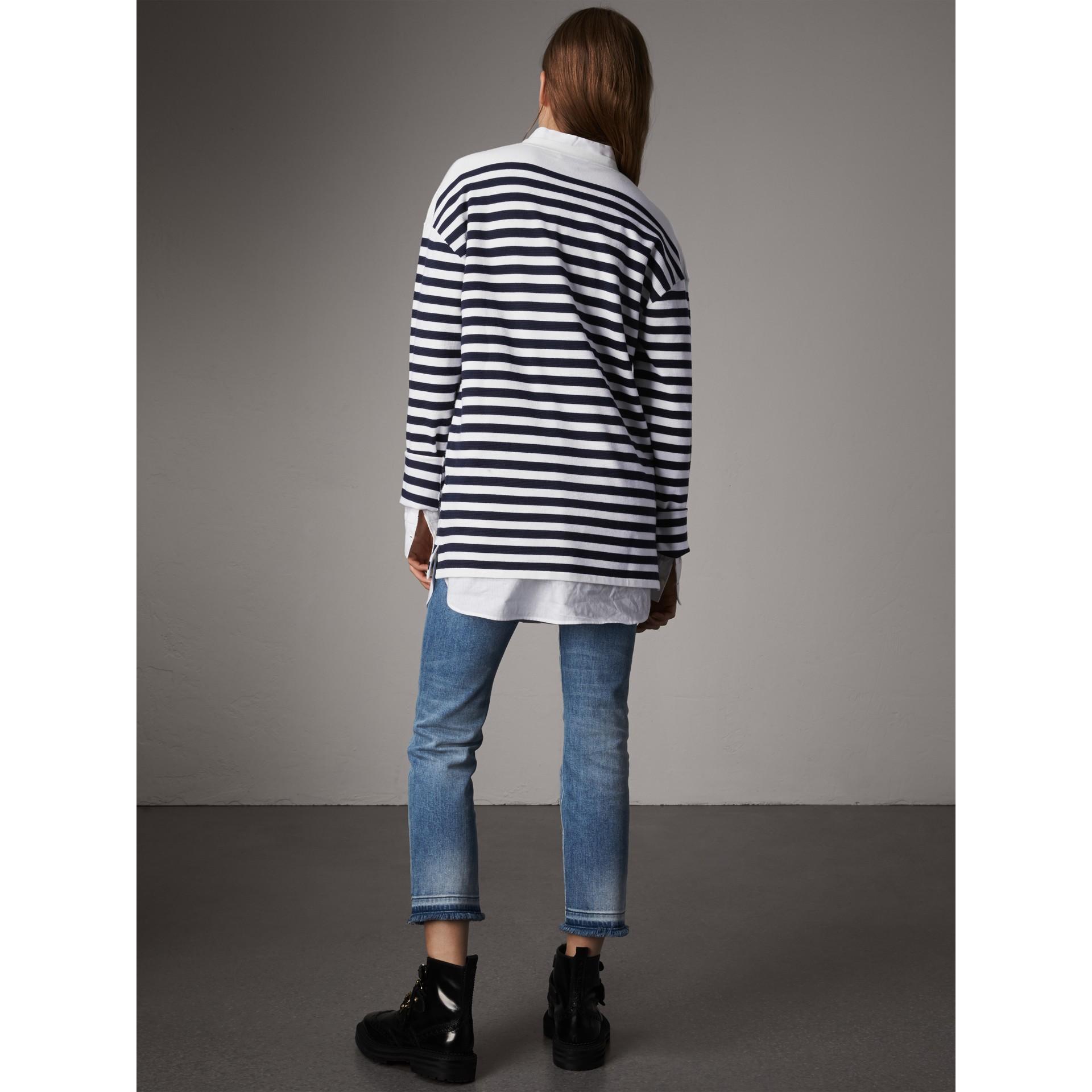 Breton Stripe Merino Wool Silk Blend Top in Navy - Women | Burberry - gallery image 2