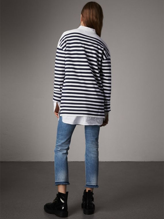 Breton Stripe Merino Wool Silk Blend Top in Navy - Women | Burberry - cell image 2