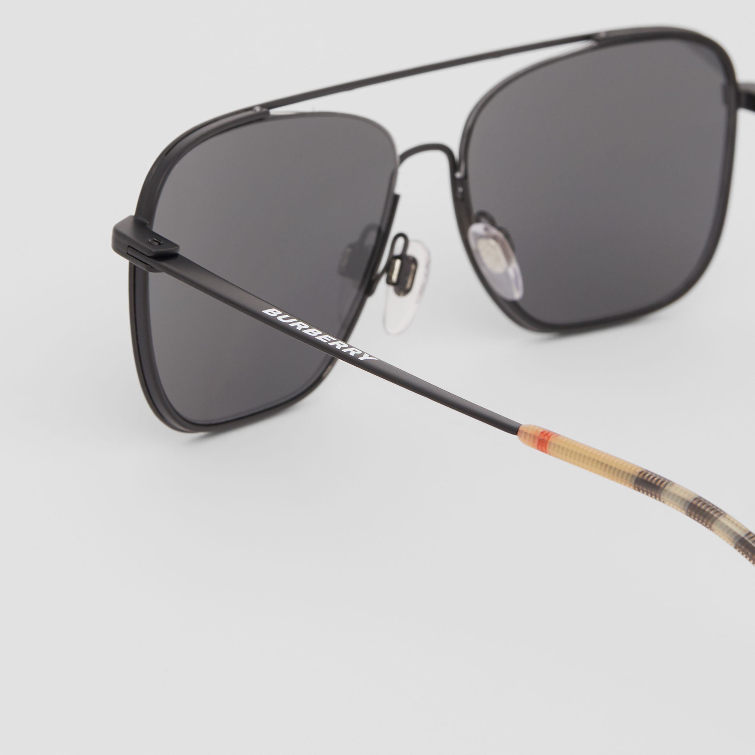 Top Bar Detail Square Frame Sunglasses in Matte Black - Men | Burberry - 2