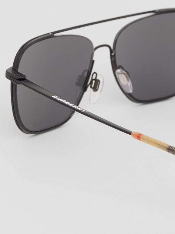 Top Bar Detail Square Frame Sunglasses in Matte Black - Men | Burberry Canada - cell image 1