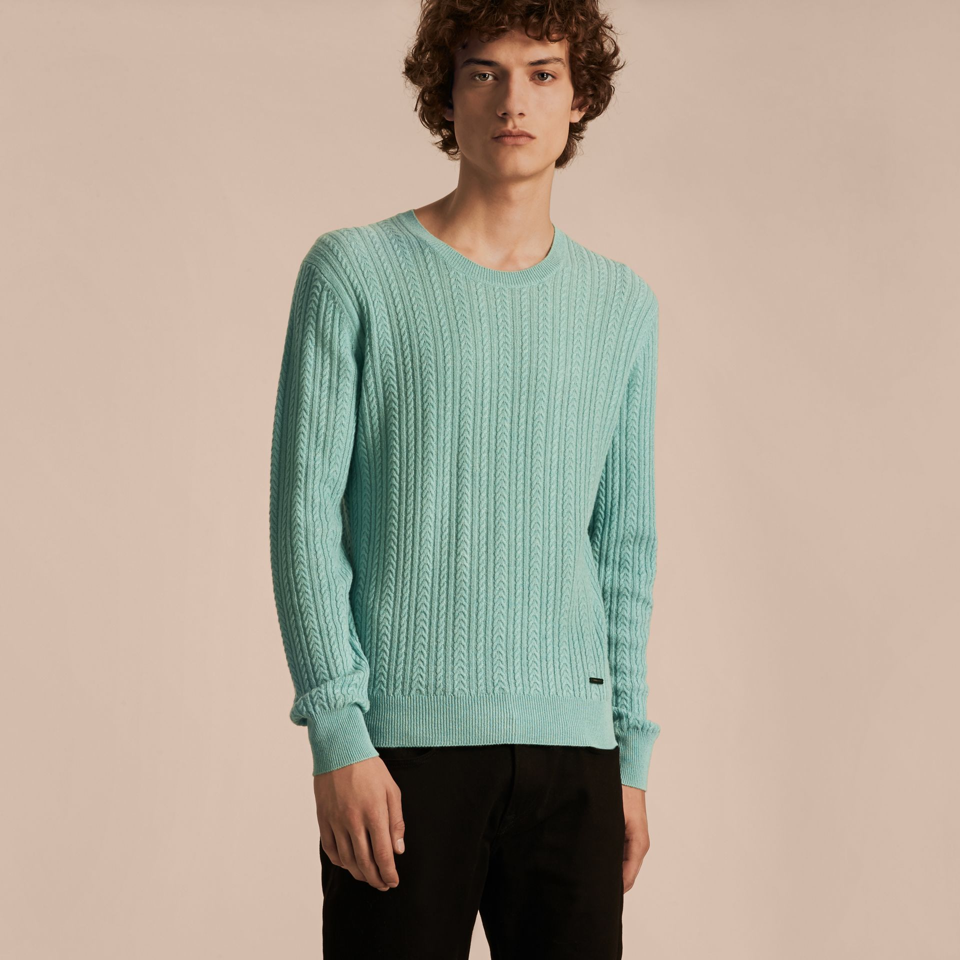 Pale peridot blue Aran Knit Cashmere Sweater Pale Peridot Blue - gallery image 6