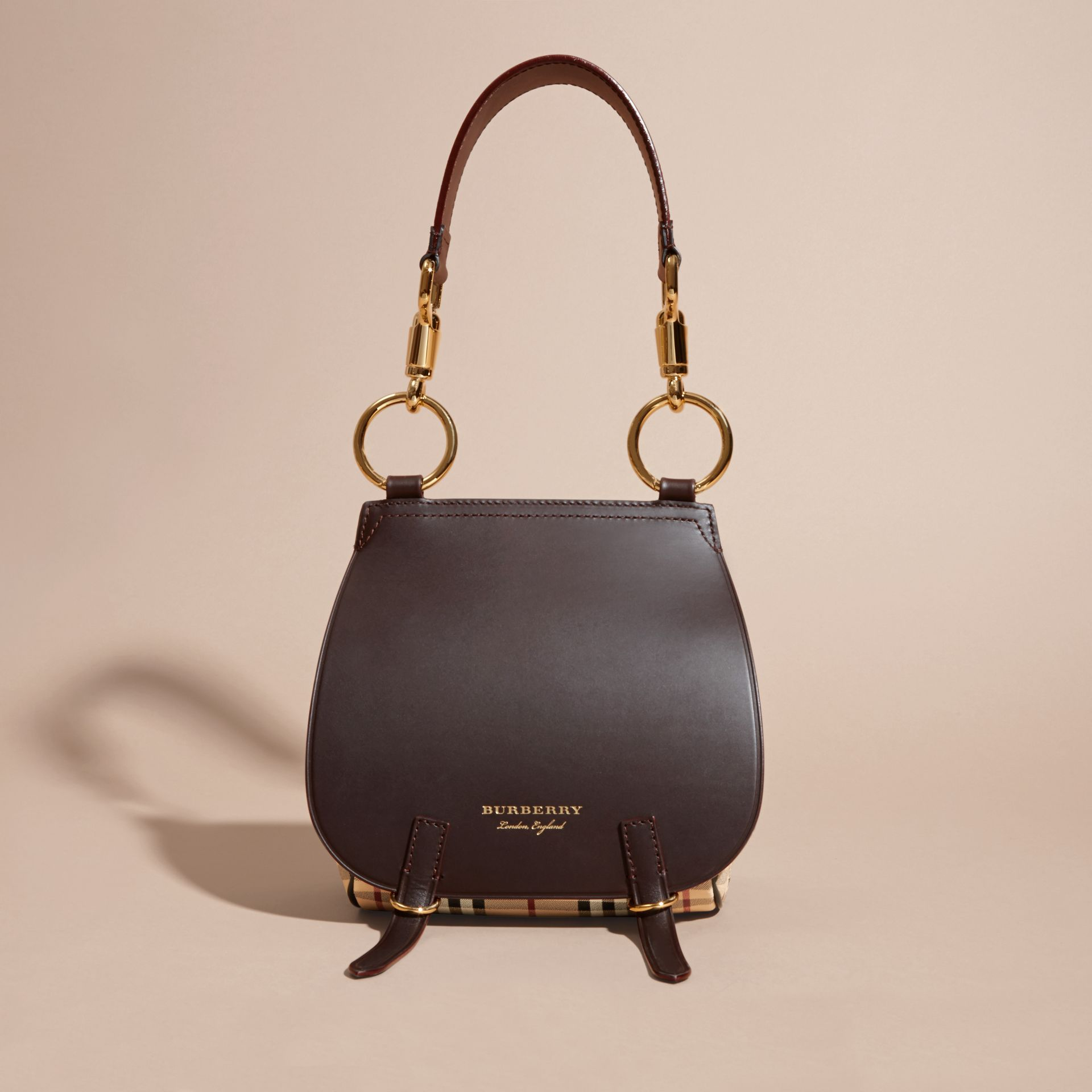 The Bridle Bag in Leather and Haymarket Check Dark Clove Brown - gallery image 8