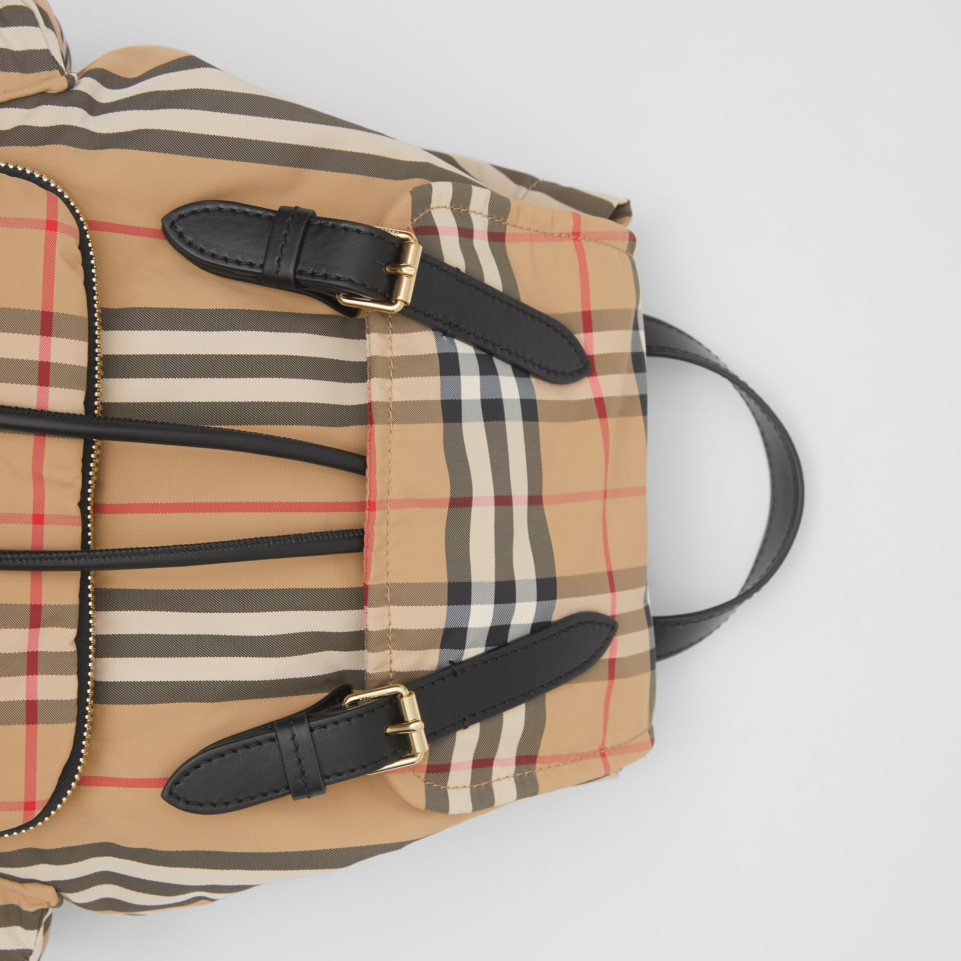 The Medium Rucksack in Vintage Check ECONYL® in Archive Beige - Women | Burberry - gallery image 1