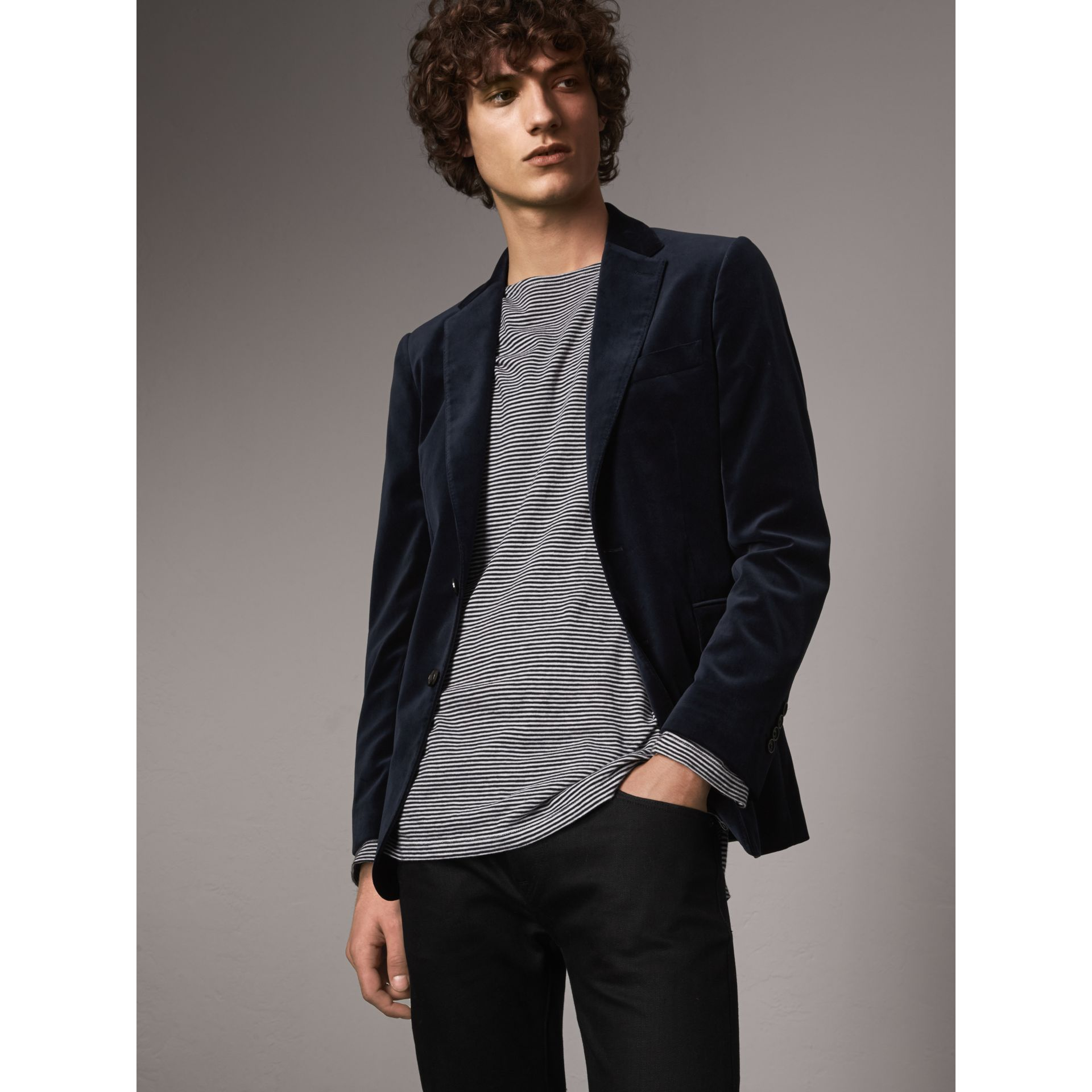 Soho Fit Velvet Tailored Jacket in Navy - Men | Burberry - gallery image 7