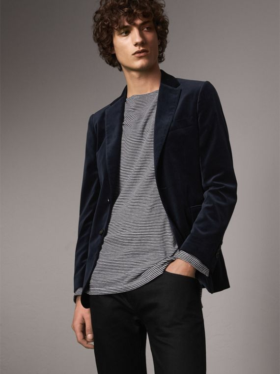 Soho Fit Velvet Tailored Jacket in Navy