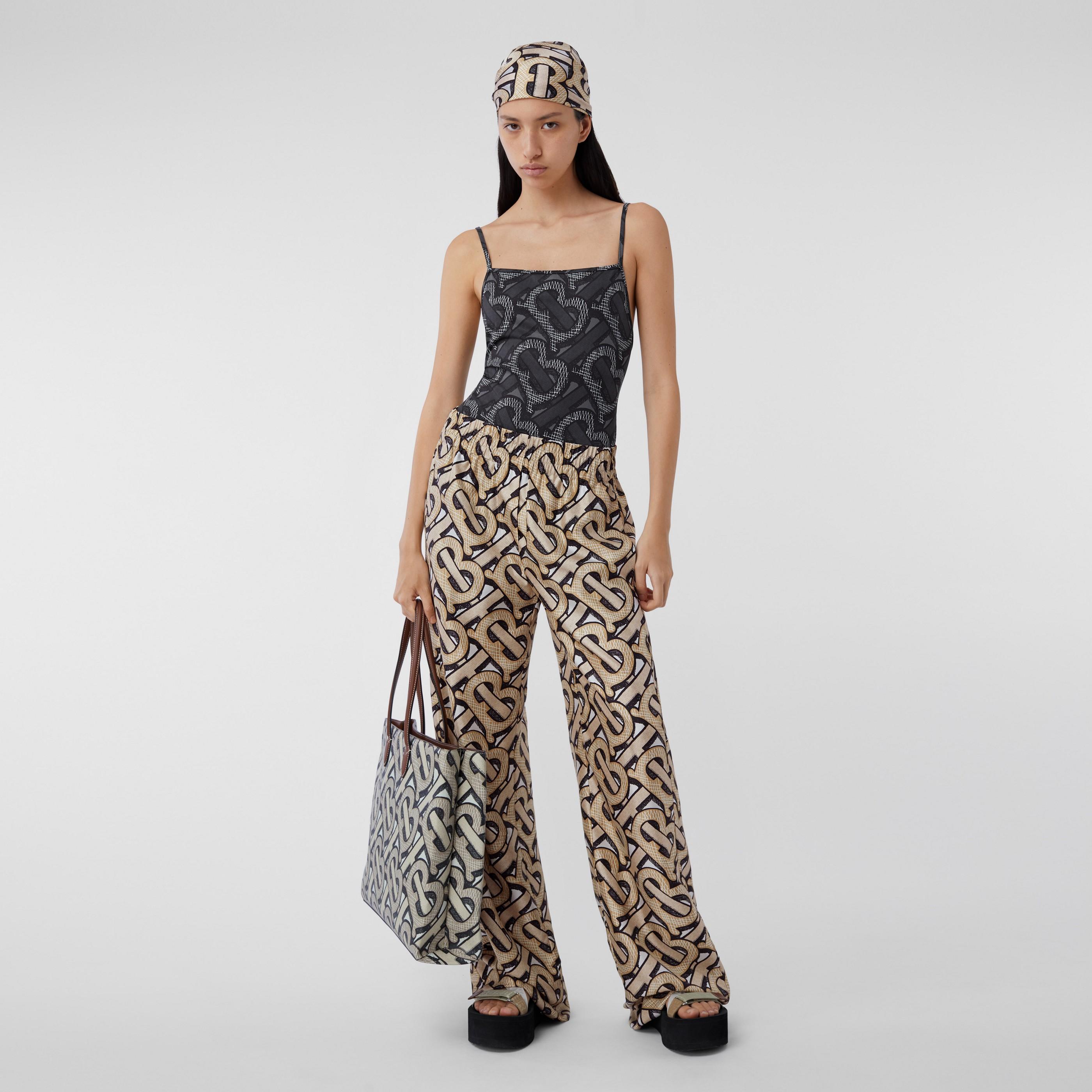 Pantaloni a gamba larga in twill di seta con stampa monogramma (Multicolore) - Donna | Burberry - 1