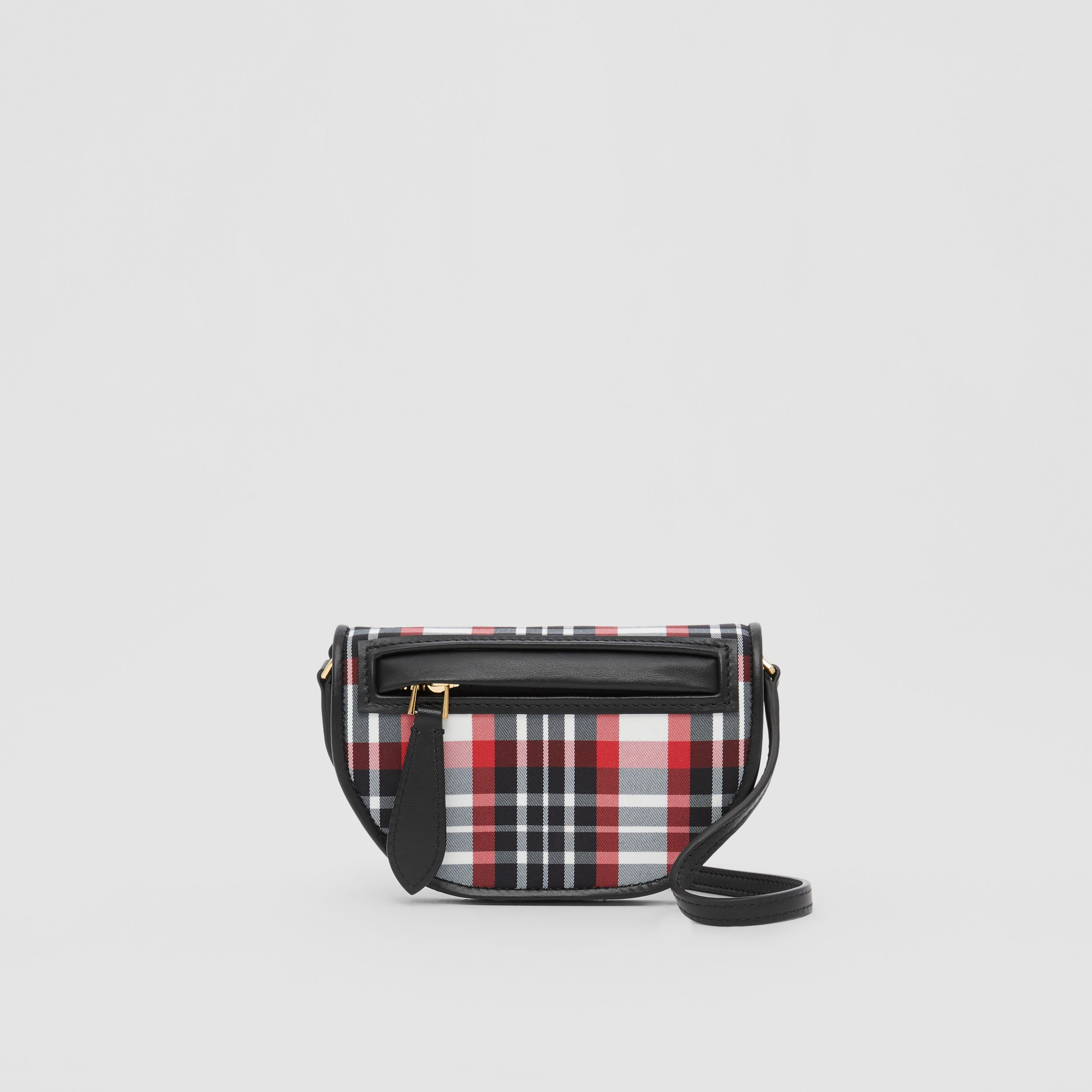 Tartan Nylon Olympia Card Case with Detachable Strap in Bright Red | Burberry - 1
