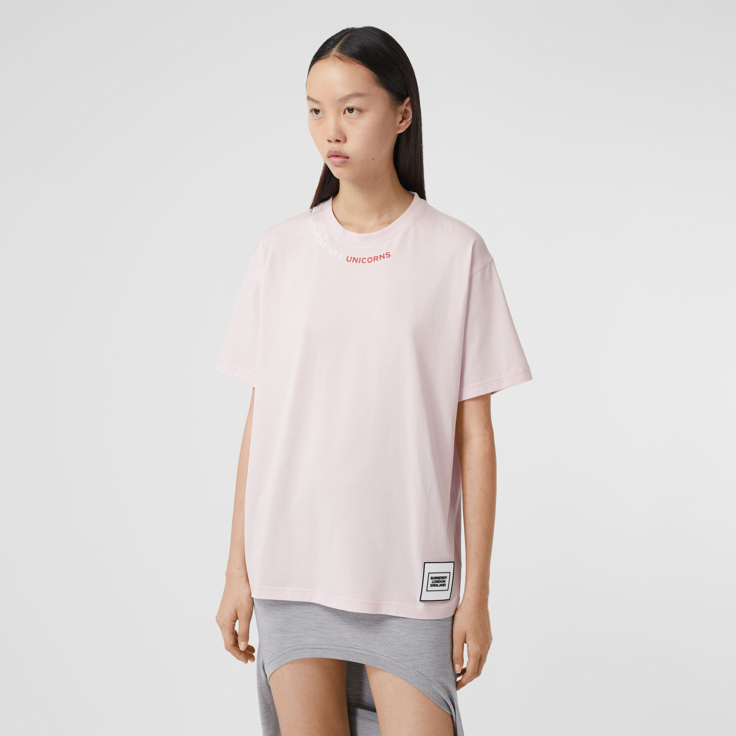 Quote Print Cotton Oversized T-shirt in Pale Pink - Women | Burberry - 1