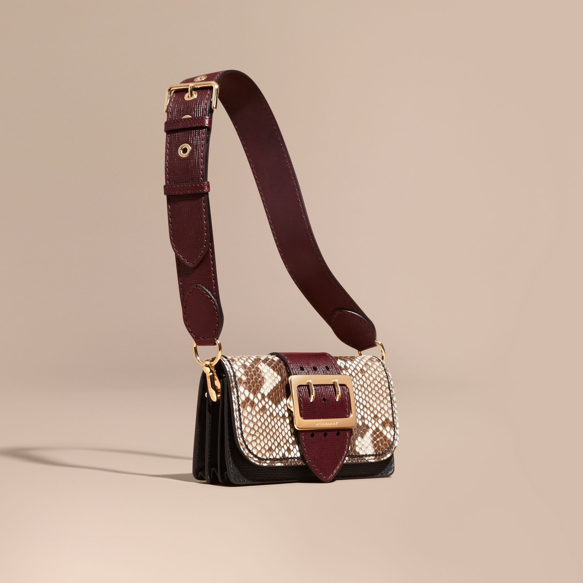Natural / burgundy The Small Buckle Bag in Python and Leather - gallery image 1