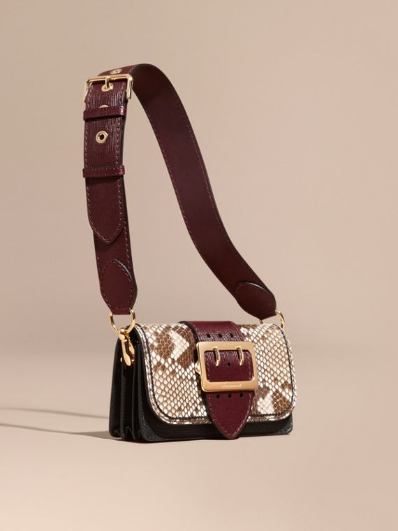 The Small Buckle Bag in Python and Leather