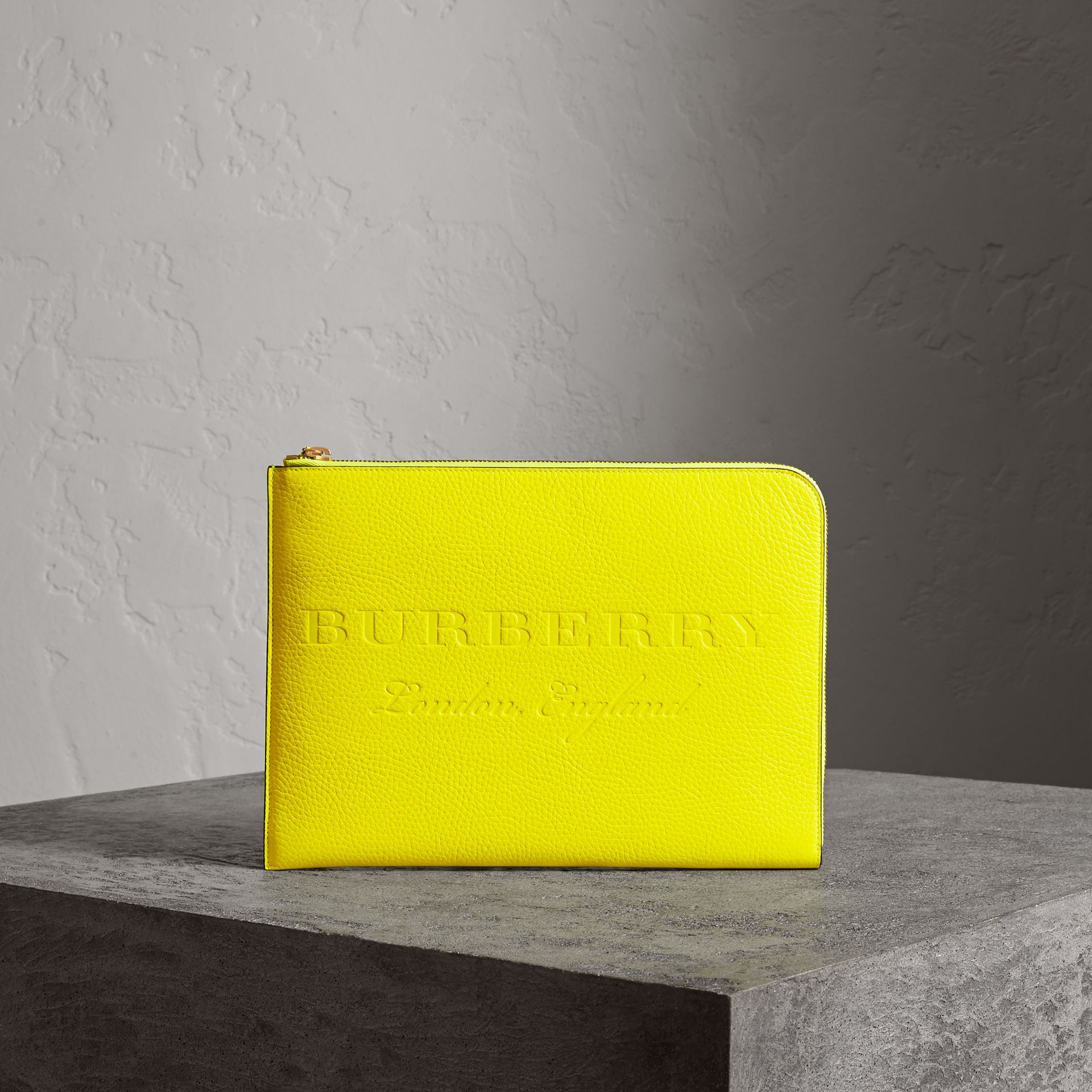 Embossed Leather Document Case in Neon Yellow - Men | Burberry Australia - gallery image 0