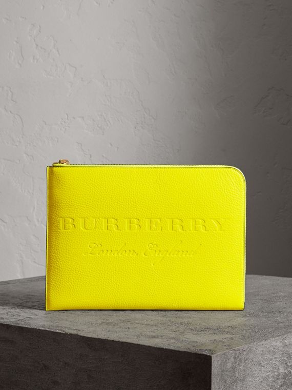 Embossed Leather Document Case in Neon Yellow