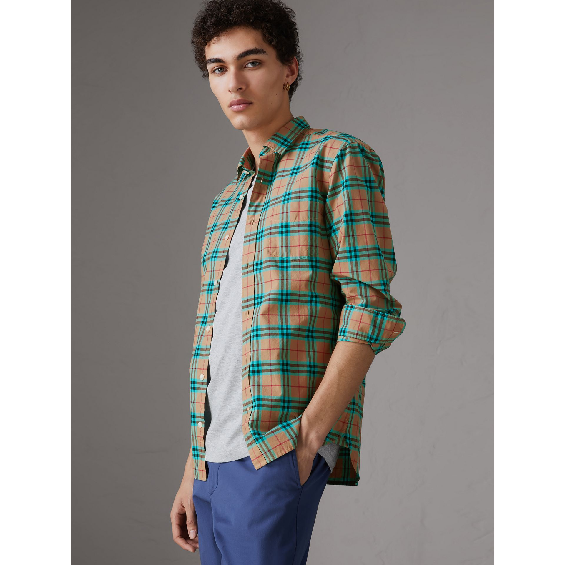 Check Cotton Shirt in Aqua Green - Men | Burberry Singapore - gallery image 0
