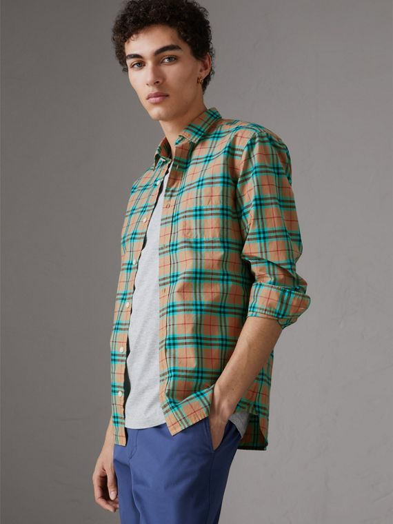 Check Cotton Shirt in Aqua Green