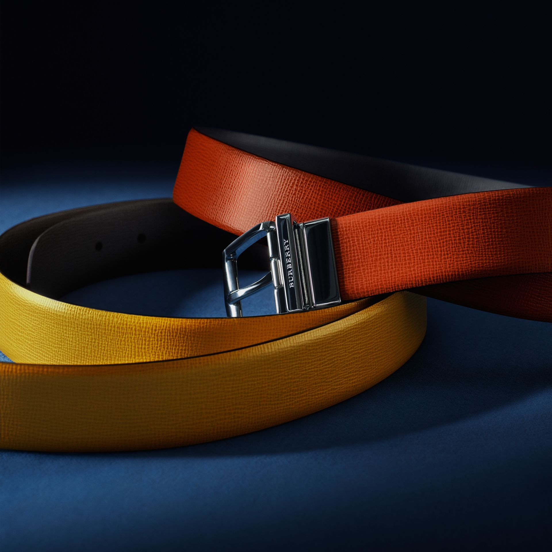 Larch yellow/bitter chocolate Reversible London Leather Belt Larch Yellow/bitter Chocolate - gallery image 5