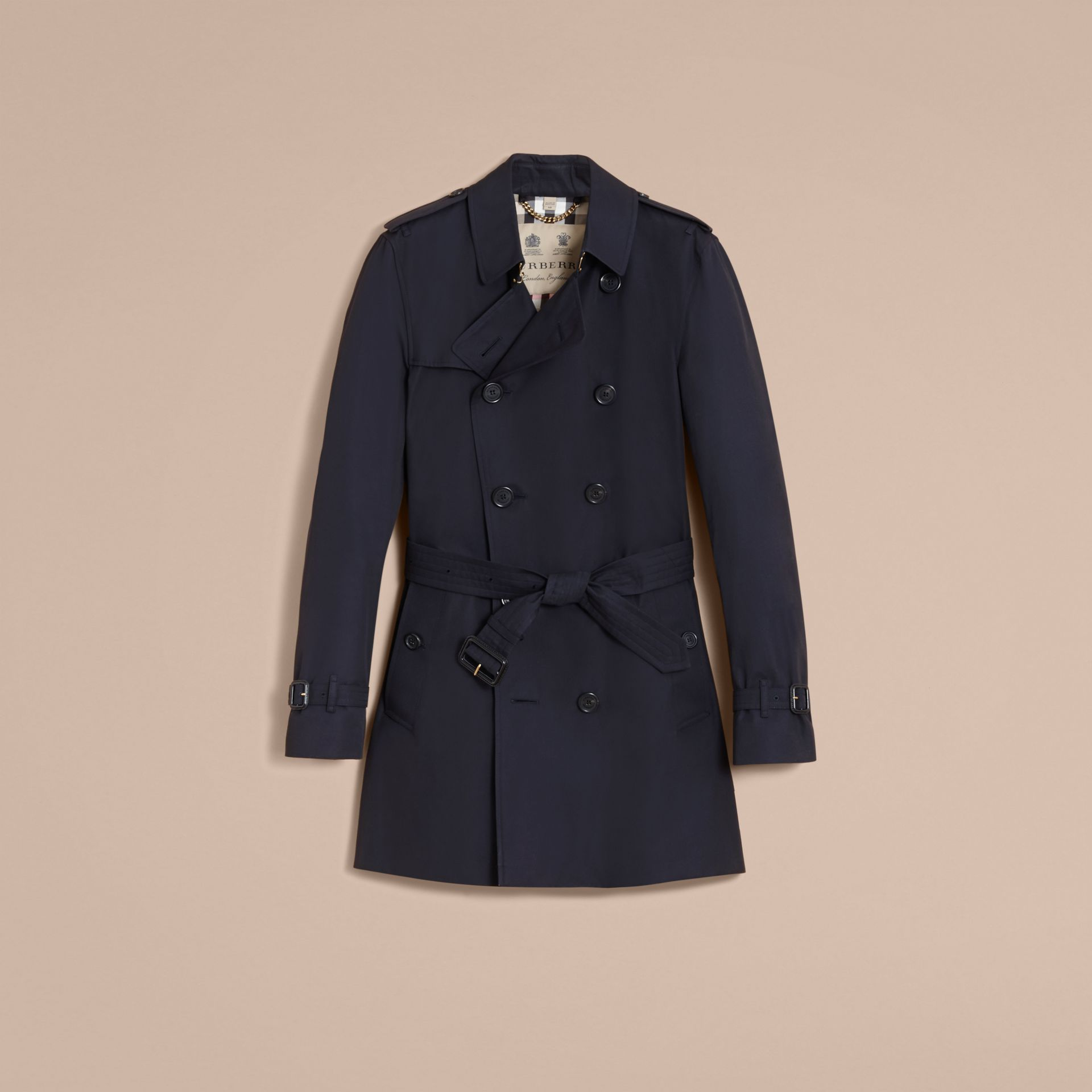 The Kensington – Mid-length Heritage Trench Coat in Navy - Men | Burberry Singapore - gallery image 4