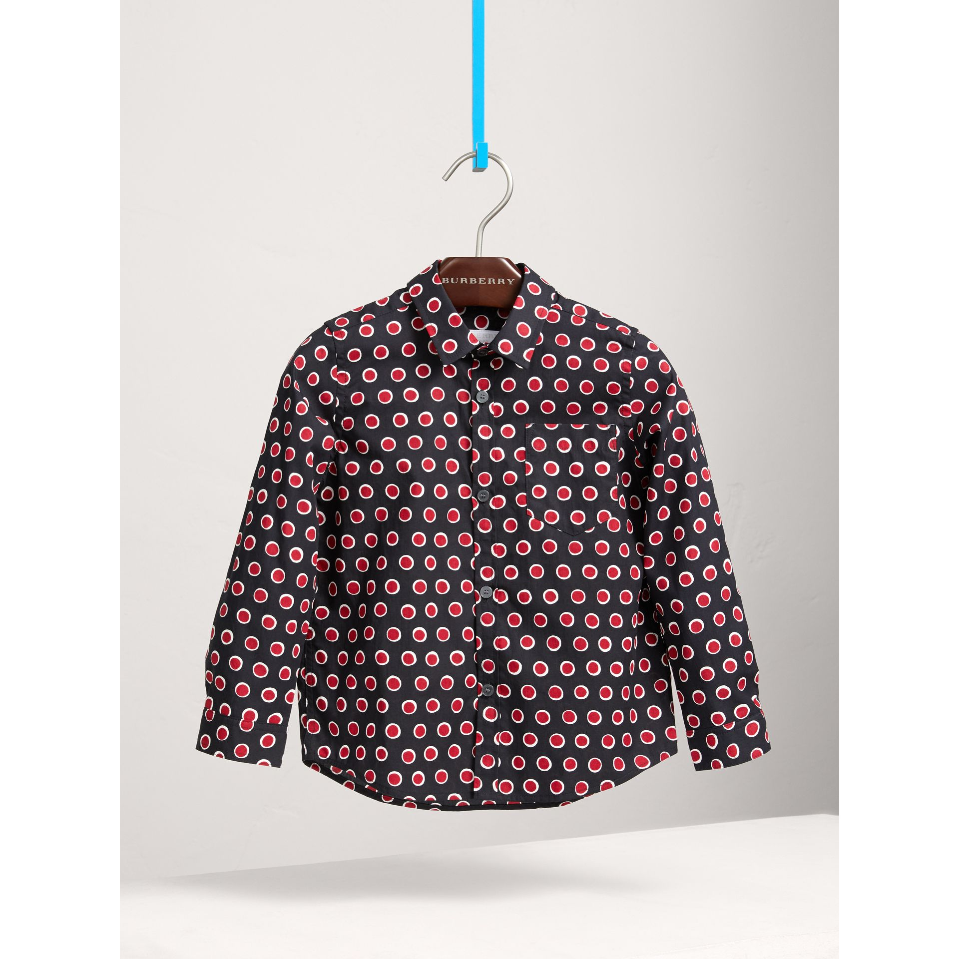 Spot Print Cotton Shirt in Parade Red | Burberry Canada - gallery image 0