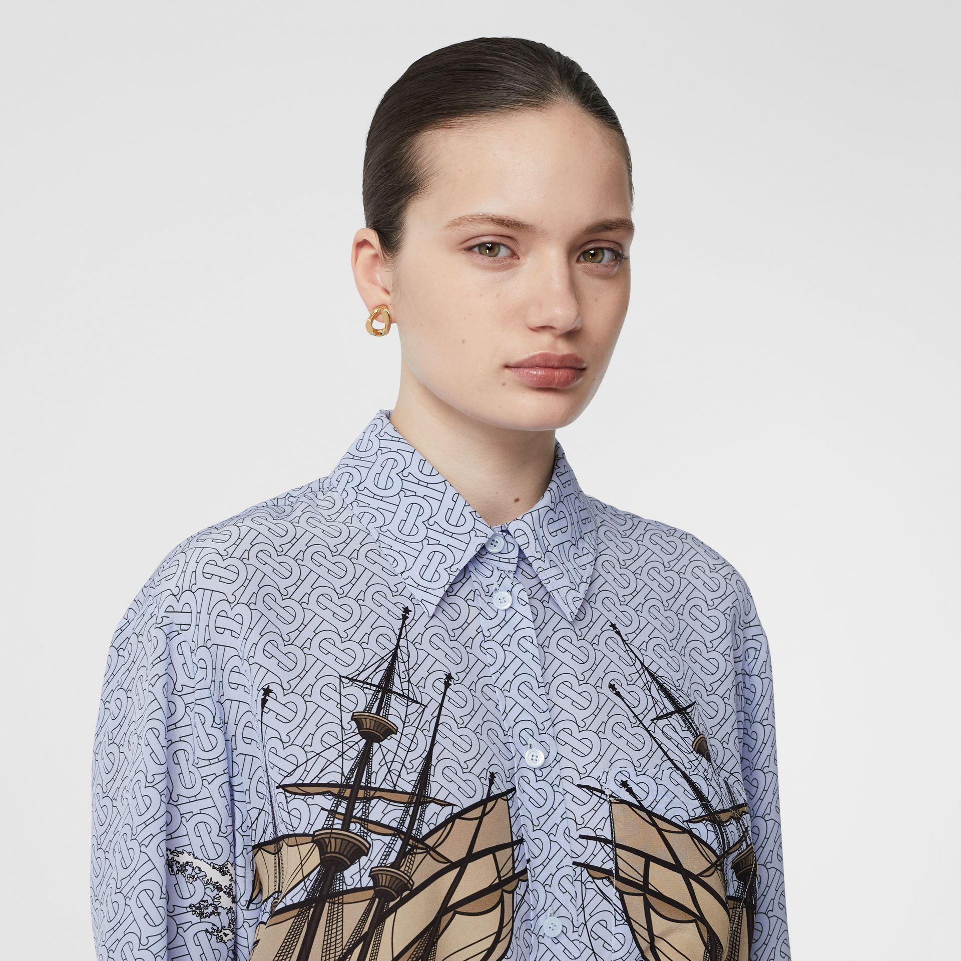 Ship Print Silk Oversized Shirt in Baby Blue - Women | Burberry United Kingdom - gallery image 1