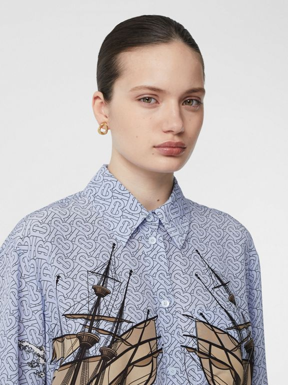 Ship Print Silk Oversized Shirt in Baby Blue - Women | Burberry United Kingdom - cell image 1