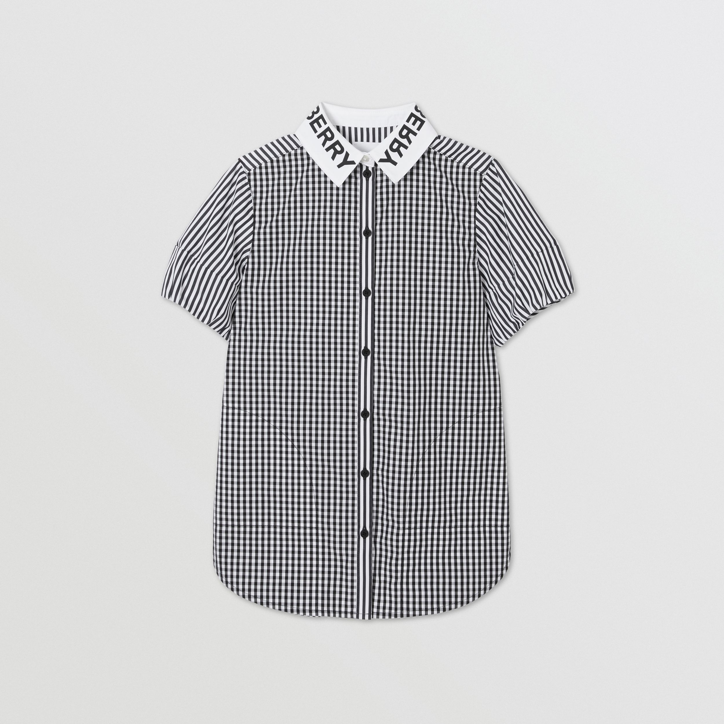 Logo Print Striped and Gingham Cotton Shirt Dress in Black | Burberry - 1