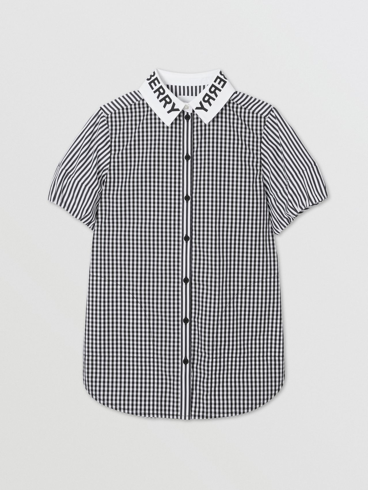 Logo Print Striped and Gingham Cotton Shirt Dress (Black)