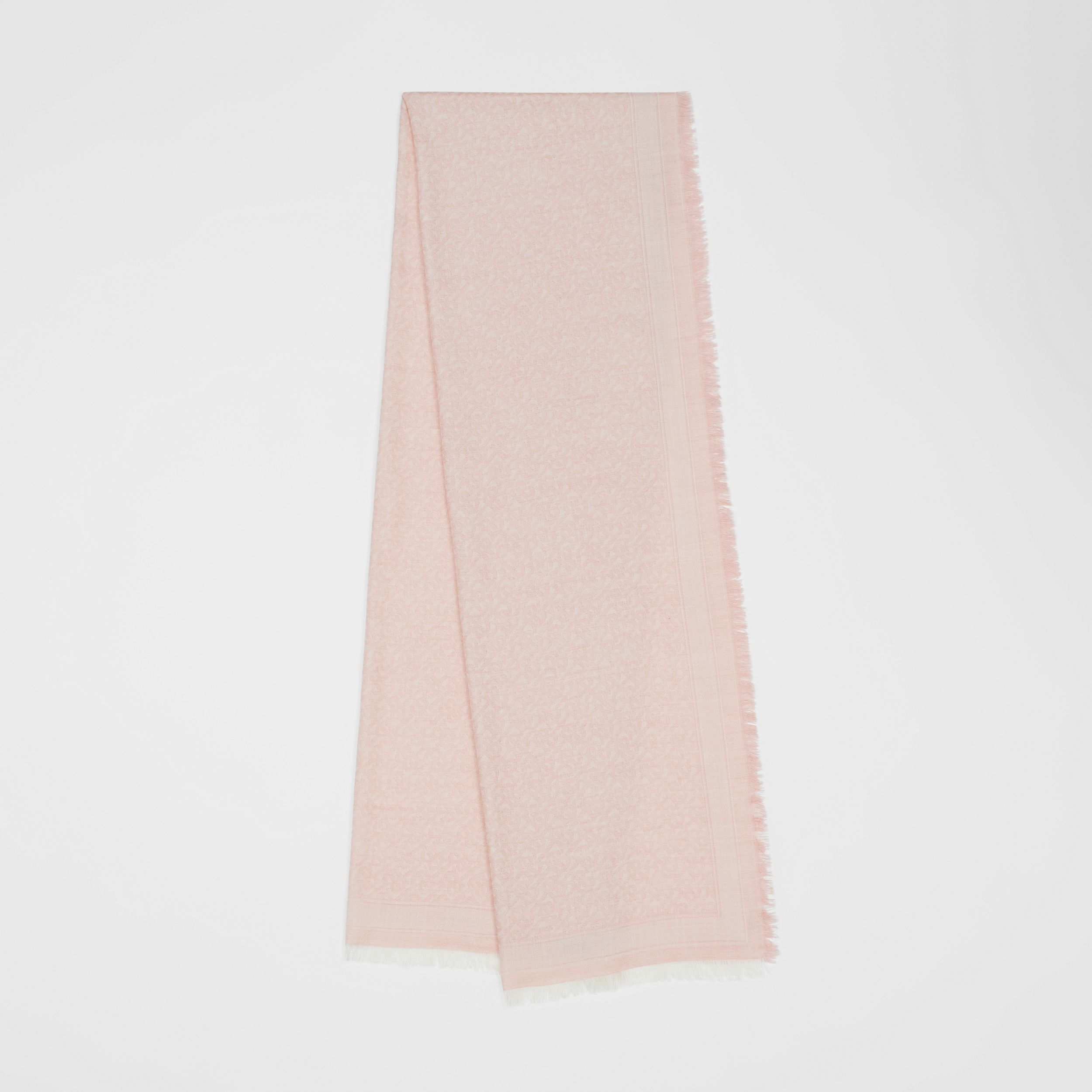 Monogram Wool Silk Jacquard Scarf in Alabaster Pink | Burberry - 1