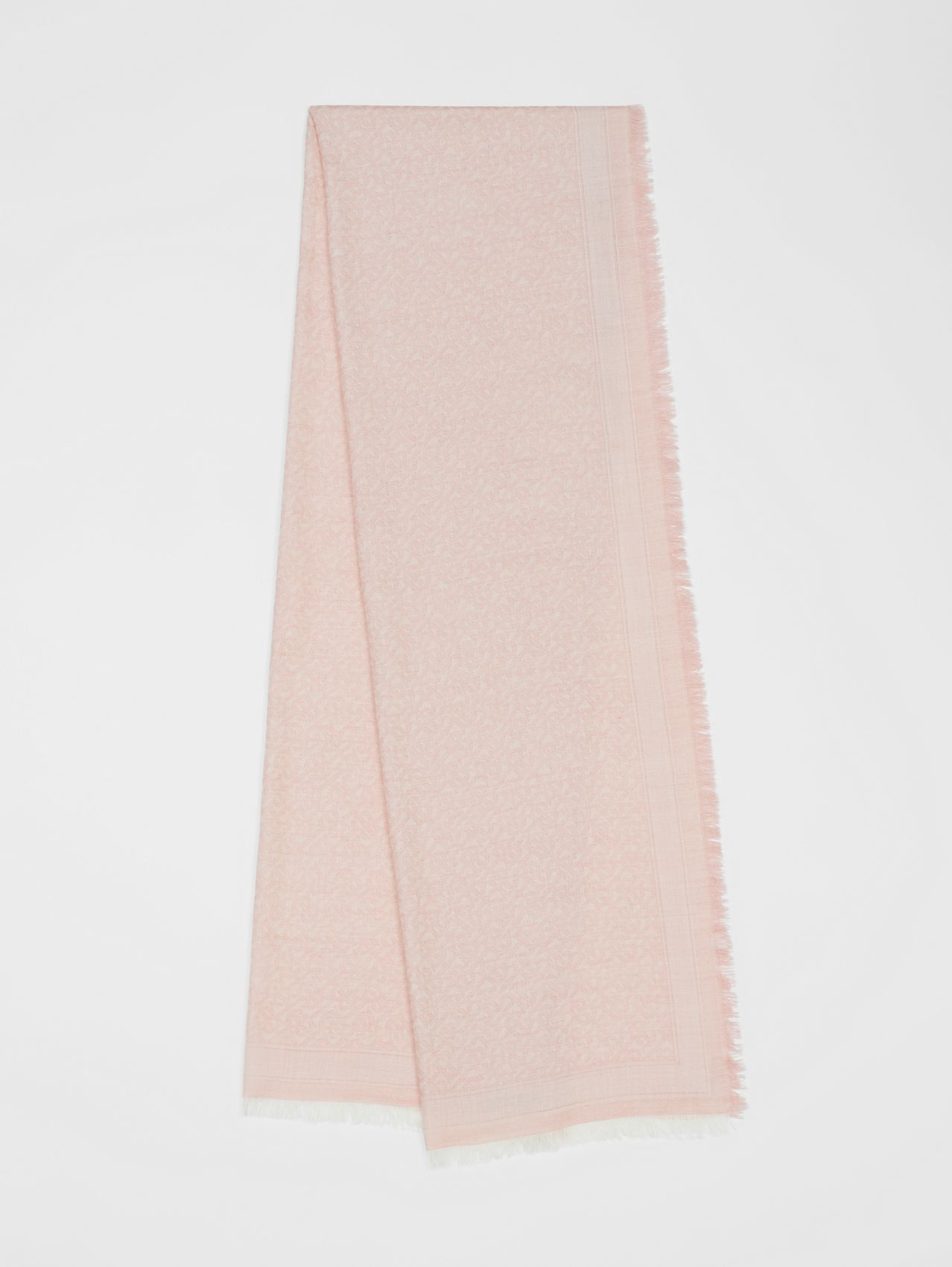 Monogram Wool Silk Jacquard Scarf in Alabaster Pink