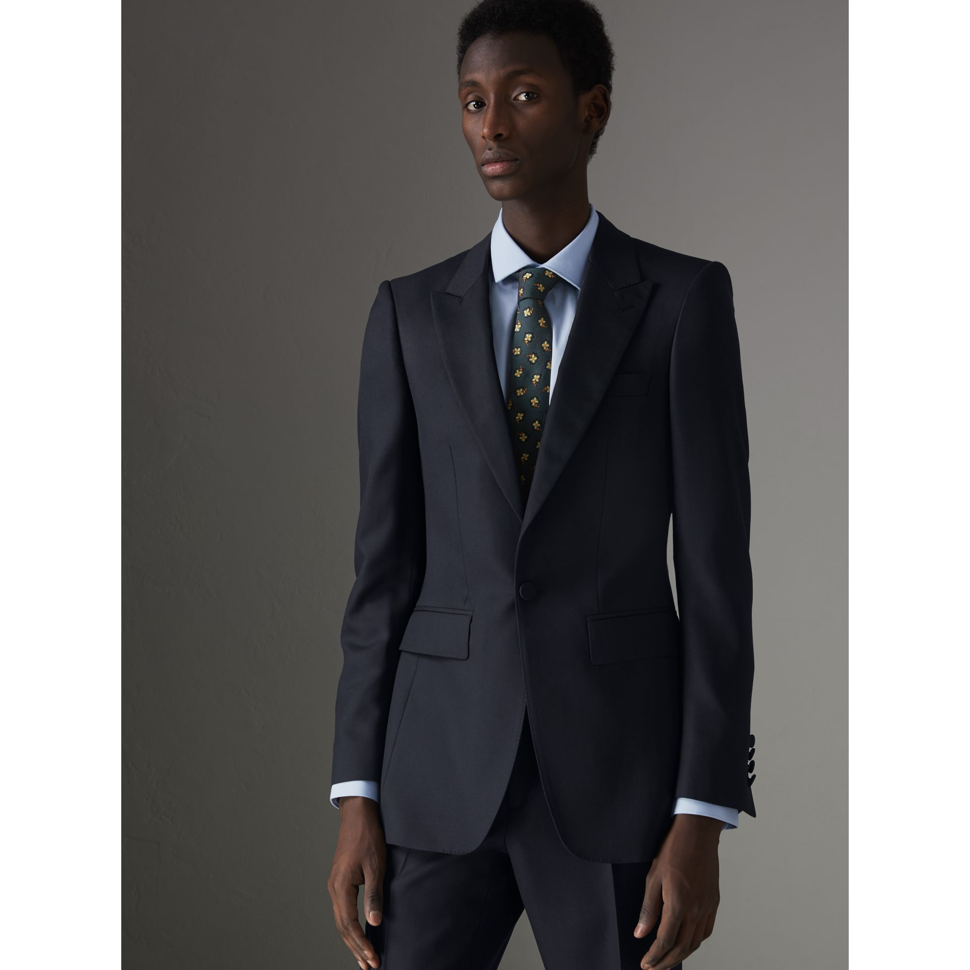 Slim Fit Wool Half-canvas Tuxedo in Navy - Men | Burberry Singapore - gallery image 5