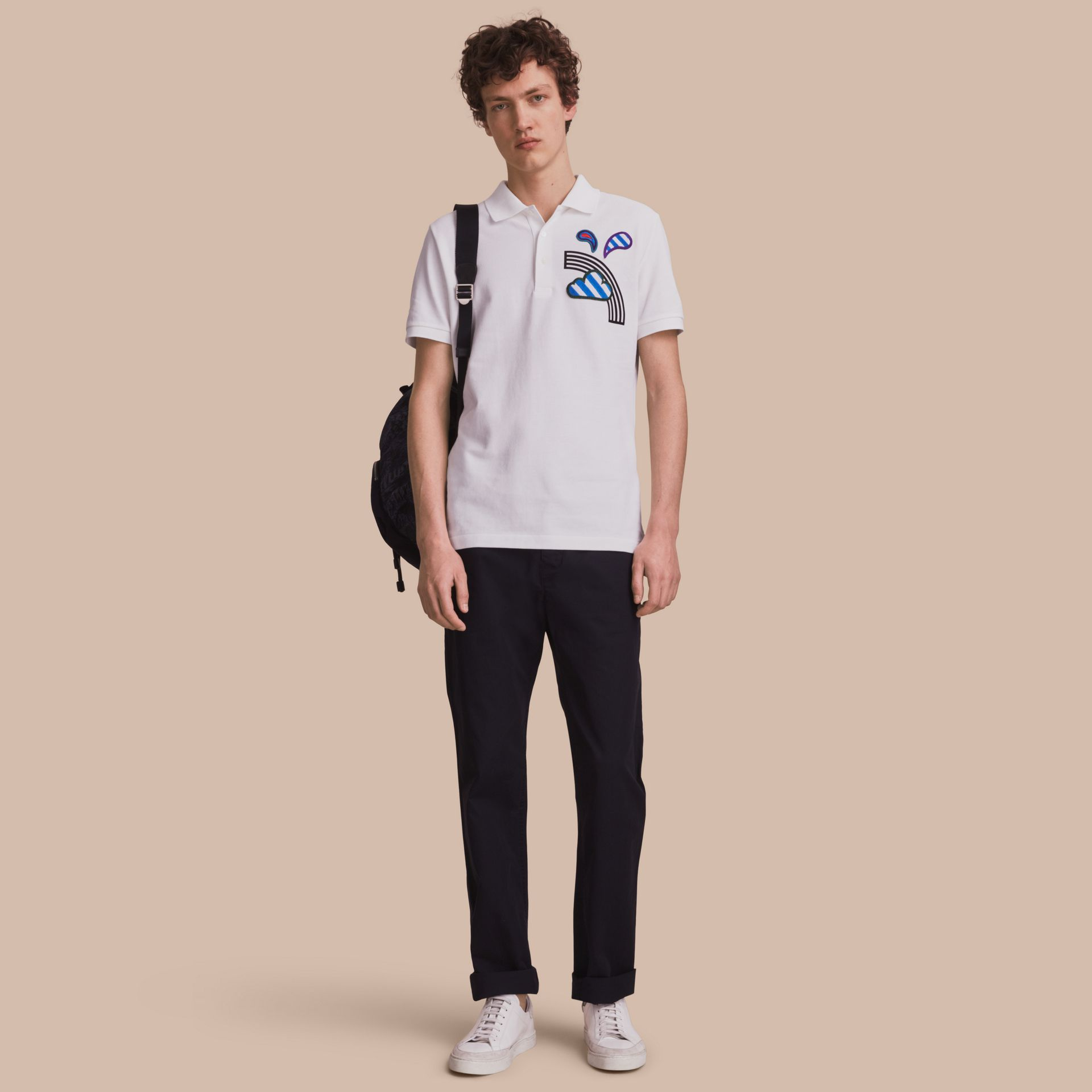 Weather Appliqué Cotton Piqué Polo Shirt White - gallery image 1