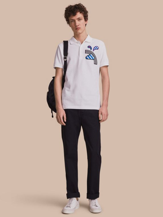 Weather Appliqué Cotton Piqué Polo Shirt White