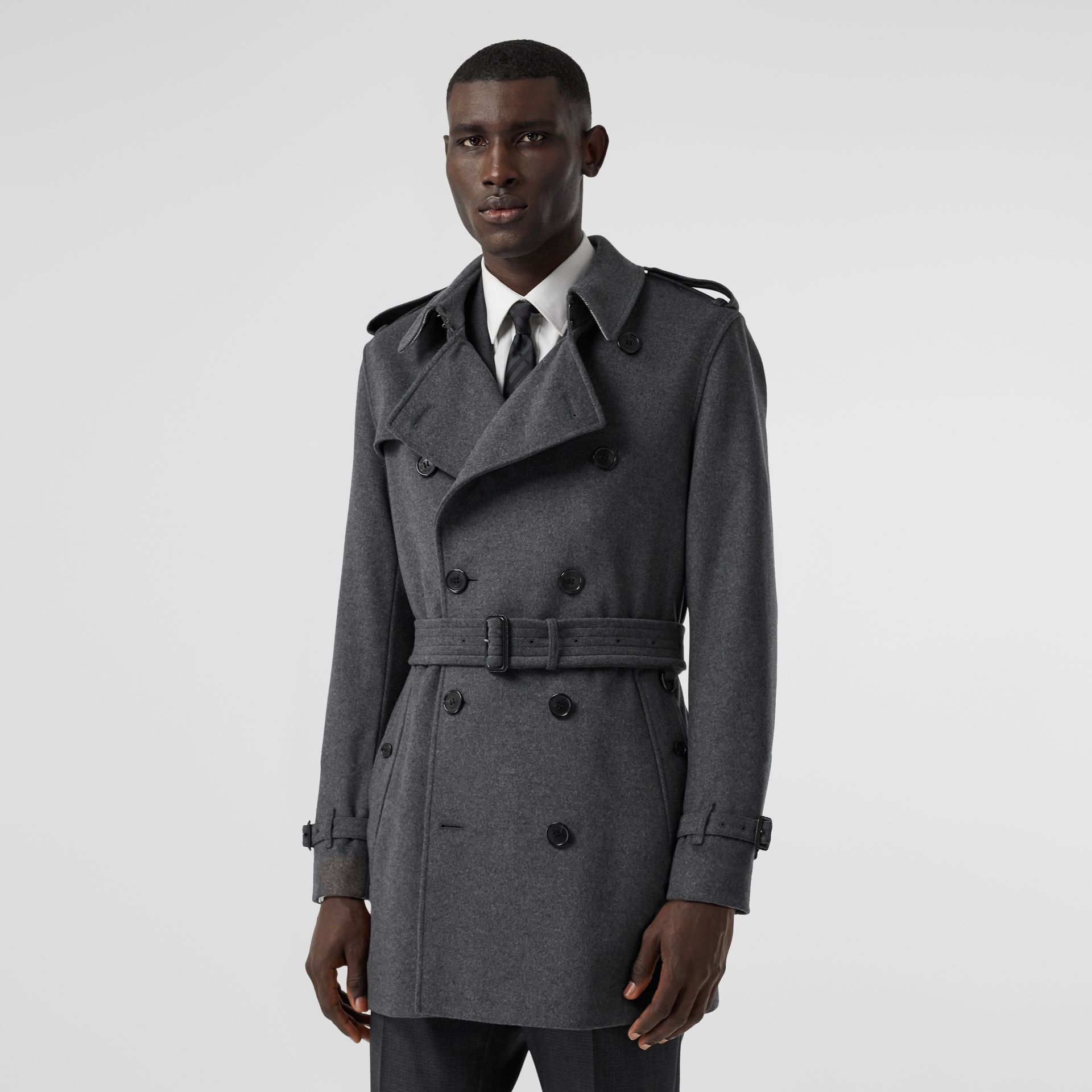 Wool Cashmere Trench Coat in Charcoal - Men | Burberry - gallery image 5
