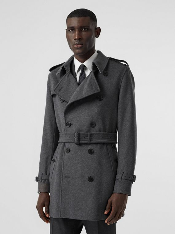 Wool Cashmere Trench Coat in Charcoal