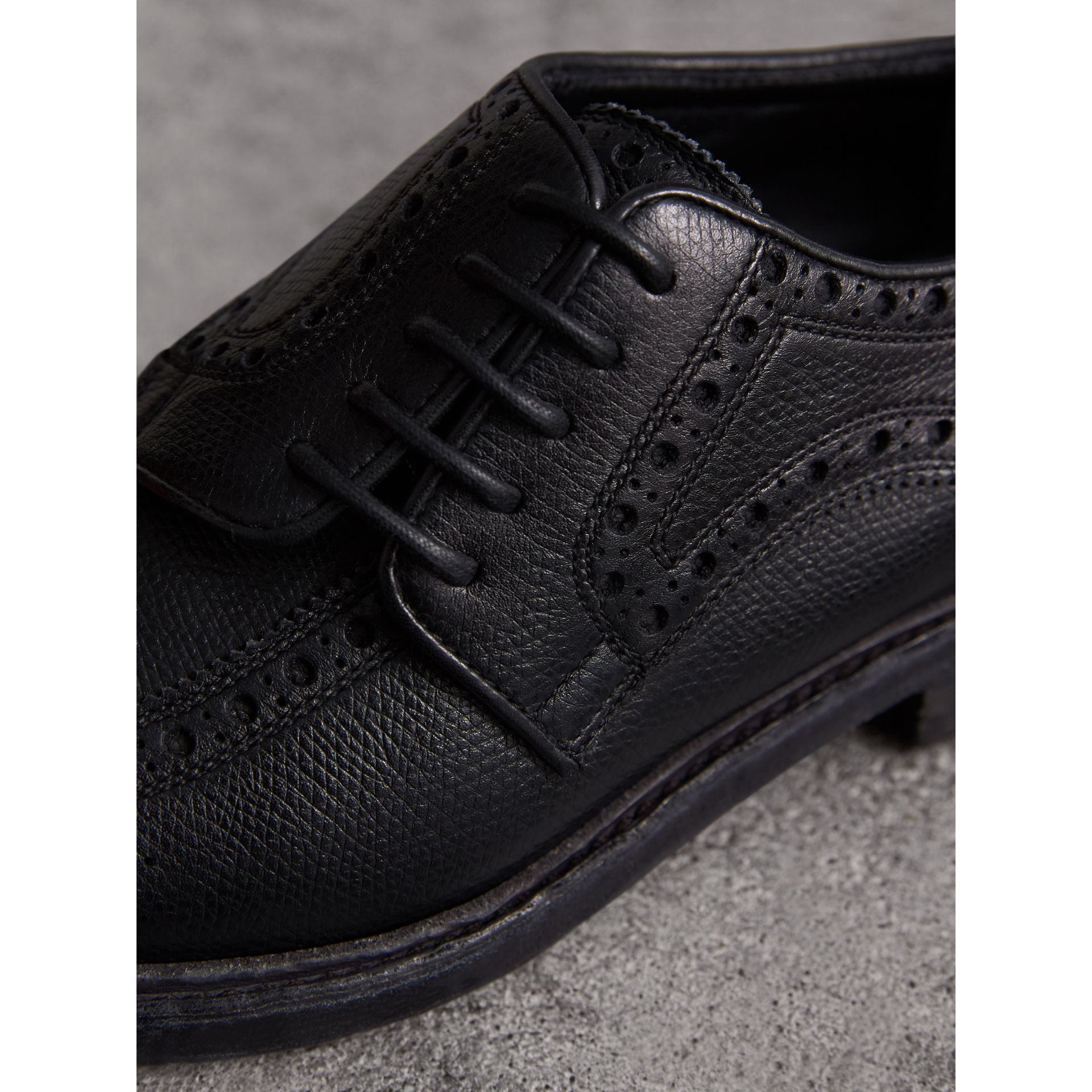 Lace-up Brogue Detail Textured Leather Asymmetric Shoes in Black - Women | Burberry - gallery image 2