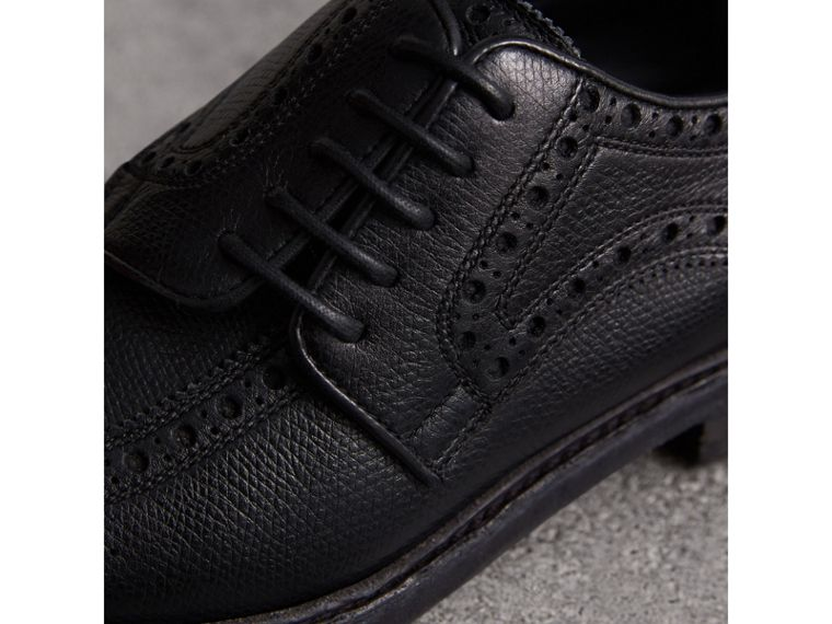 Lace-up Brogue Detail Textured Leather Asymmetric Shoes in Black - Women | Burberry United Kingdom - cell image 1