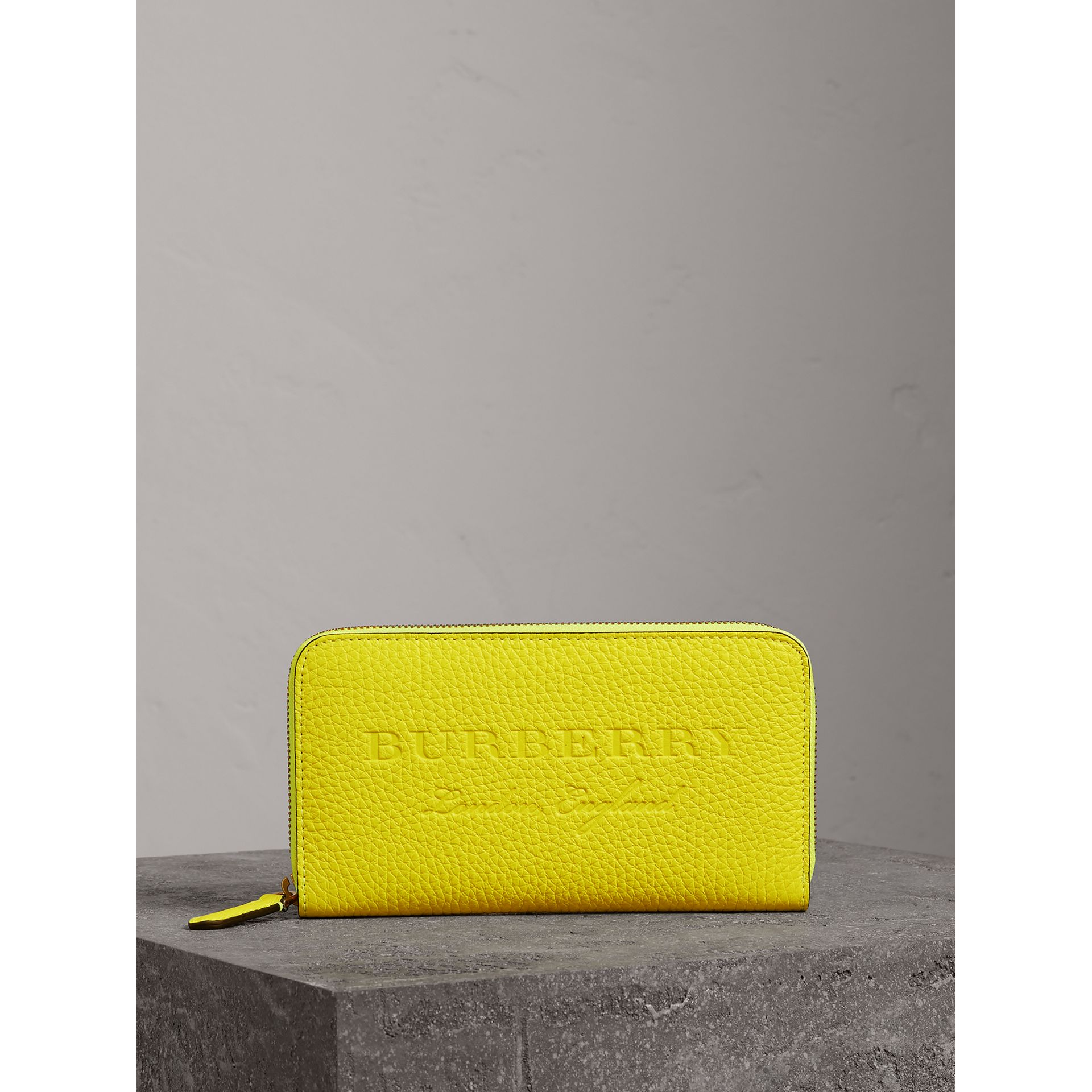 Embossed Leather Ziparound Wallet in Bright Yellow | Burberry - gallery image 4
