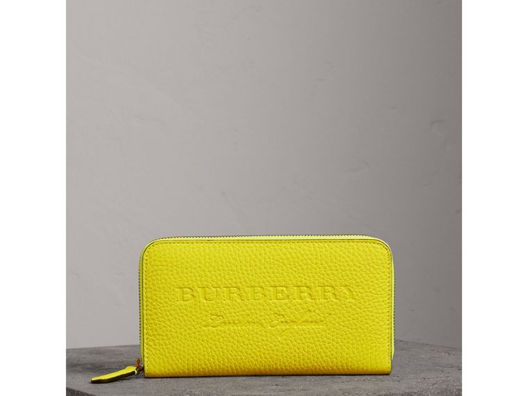 Embossed Leather Ziparound Wallet in Bright Yellow - Women | Burberry - cell image 4