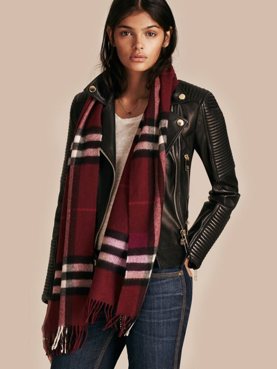 Plum check The Classic Cashmere Scarf in Check Plum - cell image 2
