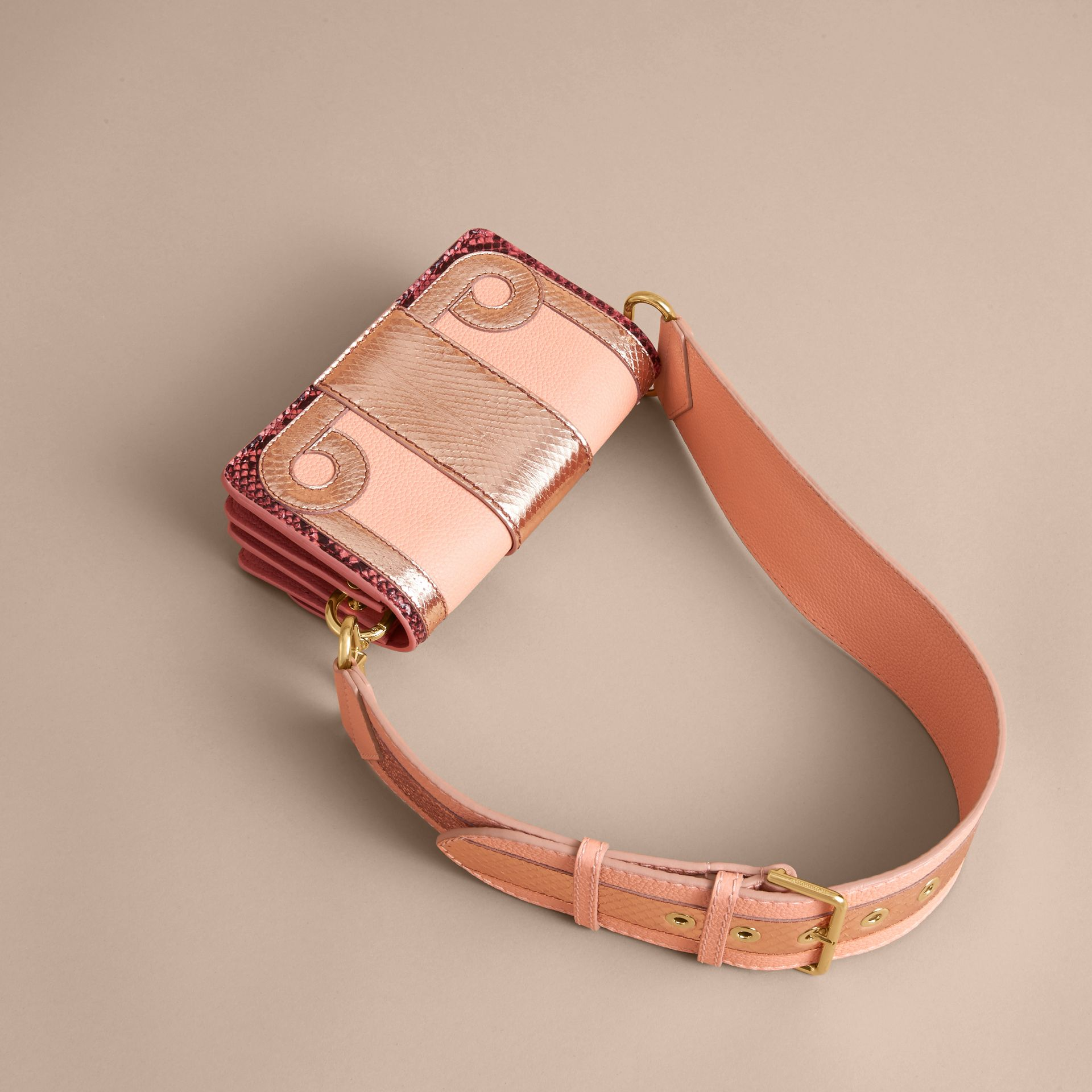 The Patchwork in Grainy Leather and Snakeskin in Pink - Women | Burberry - gallery image 3