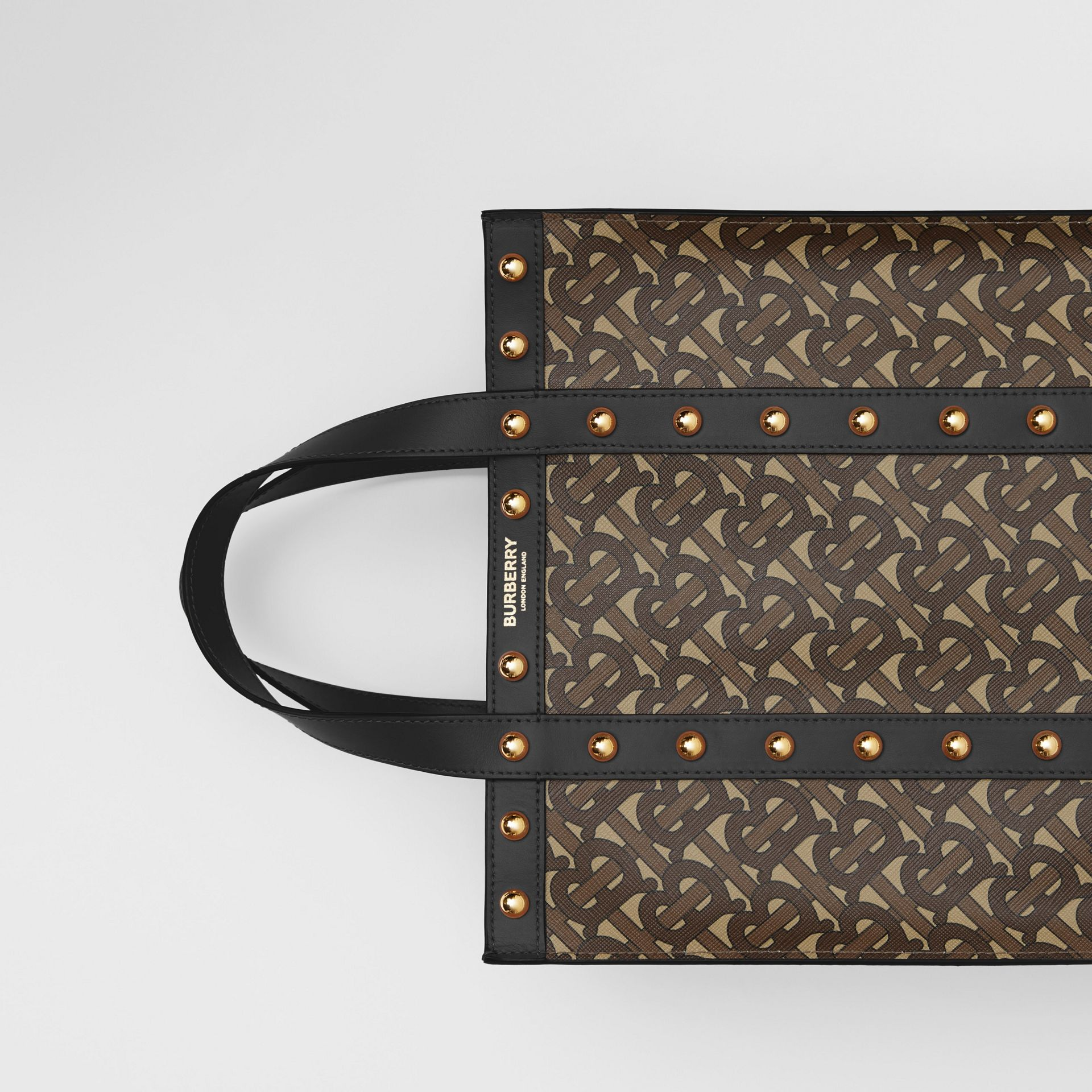 Small Monogram Print E-canvas Portrait Tote Bag in Black - Women | Burberry - gallery image 1