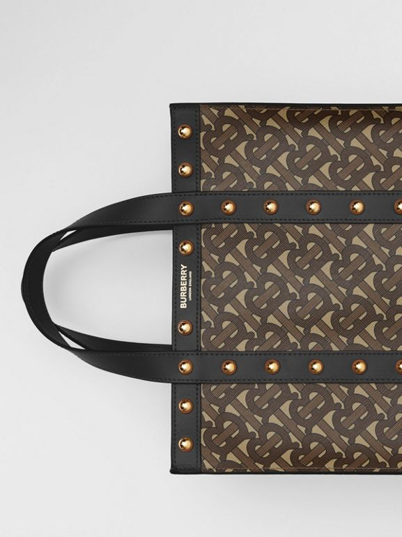Small Monogram Print E-canvas Portrait Tote Bag in Black - Women | Burberry - cell image 1