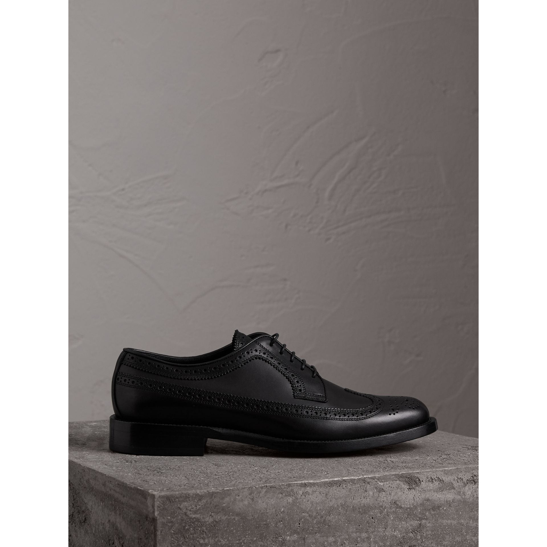 Leather Derby Brogues in Black - Men | Burberry - gallery image 5