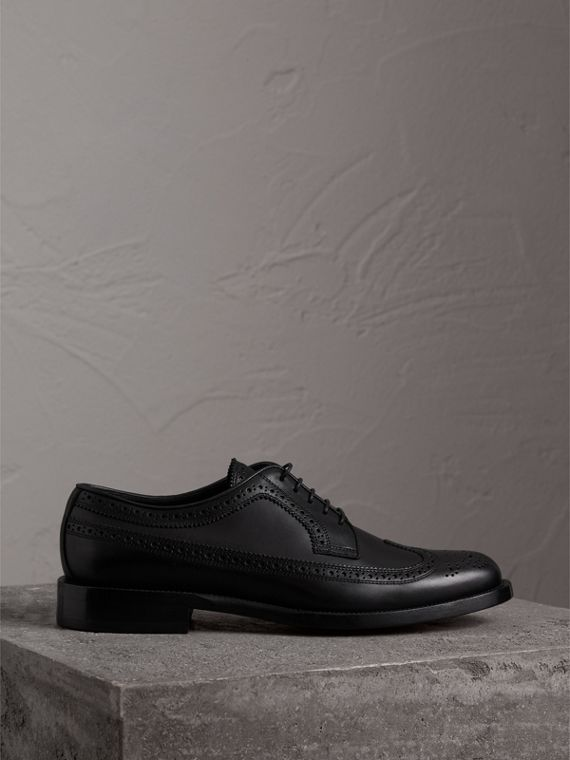 Leather Derby Brogues in Black