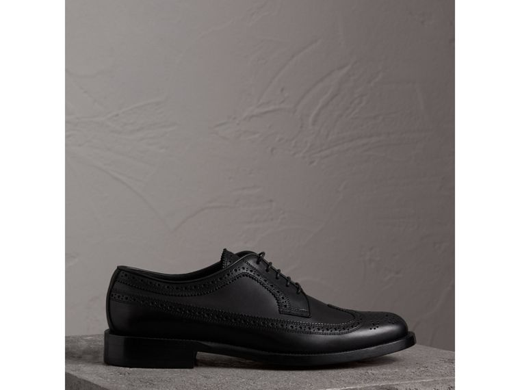 Leather Derby Brogues in Black - Men | Burberry - cell image 4