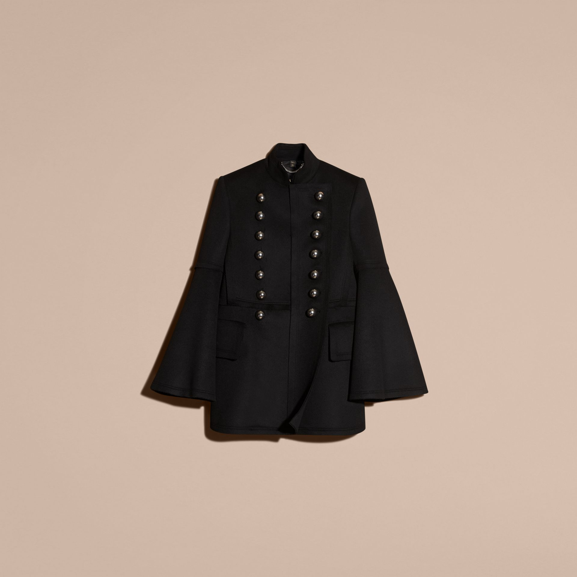 Black Bell-sleeved Military Wool Jacket - gallery image 4