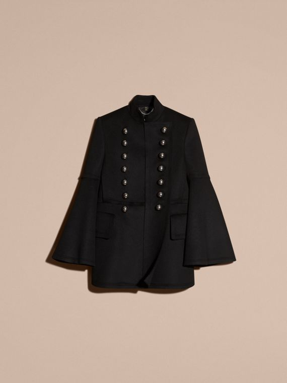 Black Bell-sleeved Military Wool Jacket - cell image 3