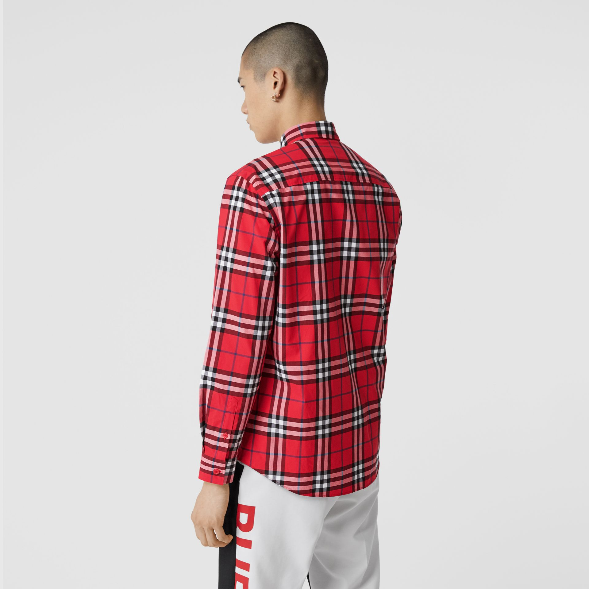 Check Cotton Poplin Shirt in Bright Red - Men | Burberry Hong Kong S.A.R - gallery image 2